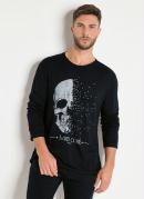 Camiseta Preta At M/L com Estampa Caveira