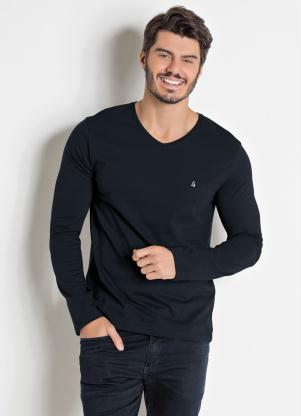 Camiseta Básica (Preta) com Bordado Frontal