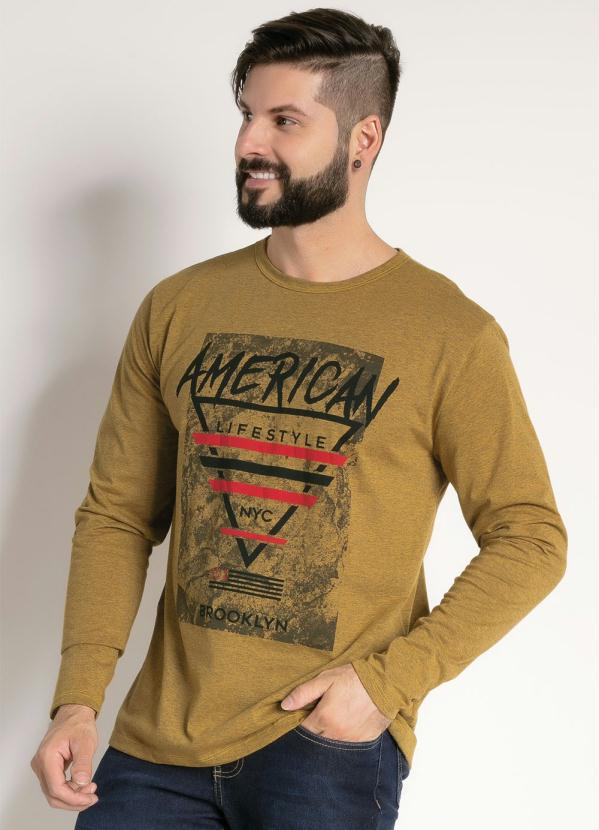 Camiseta Manga Longa (Mostarda) com Estampa