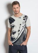 Camiseta Cinza com Estampa Frontal