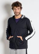 Jaqueta Preta com Capuz e Estampa