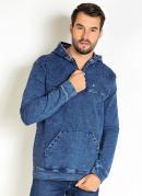 Casaco Jeans com Capuz Zíper e Bolso Funcional