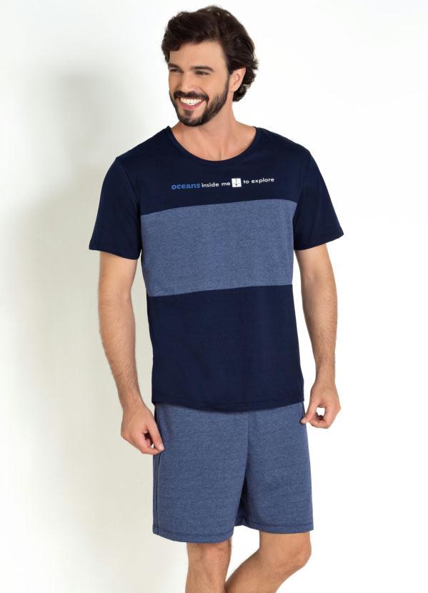 Pijama Actual (Marinho) com Escrita Frontal