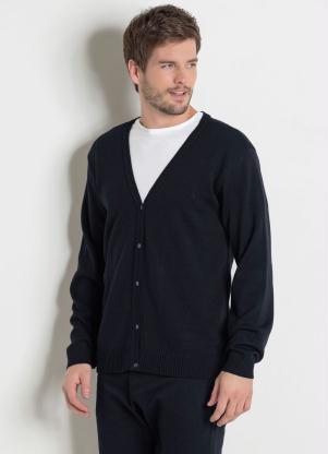 Suéter (Preto) com Fechamento em Botões Actual