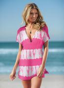 Saída de Praia Estampada Tie Dye Rosa