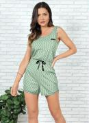 Macaquinho Pijama Verde Claro e Poá