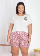 Pijama Curto com Bolso na Blusa Branco/Rosa
