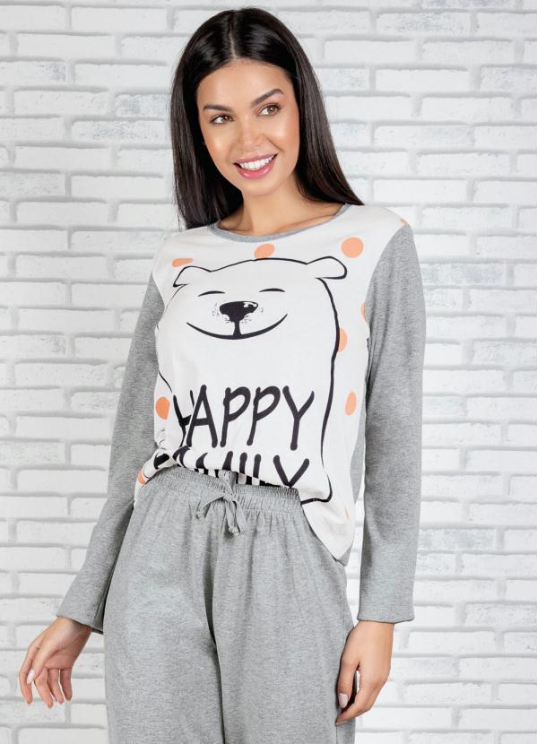 Blusa Manga Longa de Pijama (Mescla e Branca)