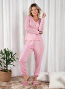 Pijama Longo Poá Rosa