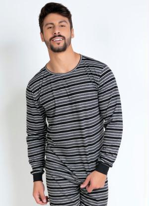 Blusa Pijama Masculino (Listrado) com Silk