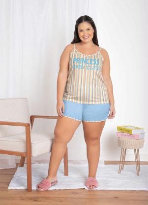 Pijama Curto de Alcinha (Listra/Azul)