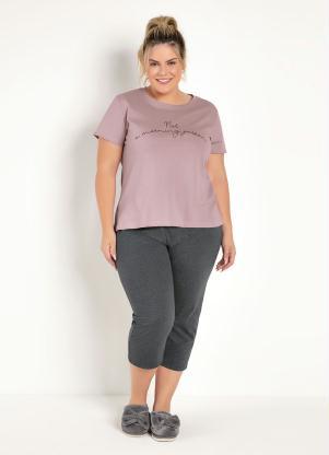 Pijama Pantacourt (Rosê e Mescla Chumbo)
