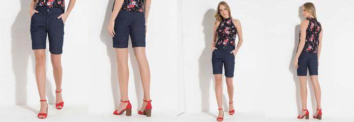 7c5f1308f Score: 0.0 Short Quintess Jeans com Bolsos Laterais