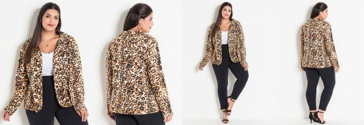 56a51bef91 Score  0.0 Blazer Animal Print Onça Plus Size Marguerite