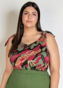 Blusa Camuflada Floral com Amarração Plus Size