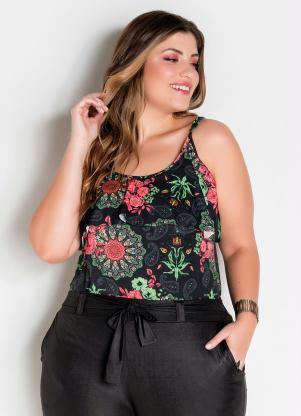 Blusa de Alças e Babado Plus Size (Floral)