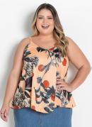 Blusa Floral Laranja Ampla Plus Size