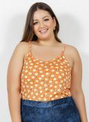 Blusa Floral Laranja de Alças Plus Size