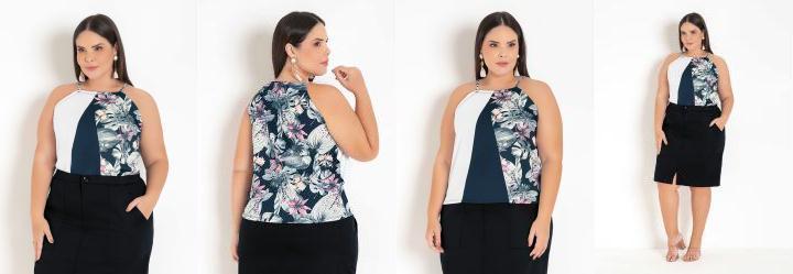 Blusa Floral Marinho com Recortes Plus Size