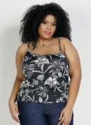 Blusa Floral Preta Assimétrica Plus Size