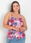Blusa Floral Rosa com Alcinhas Plus Size