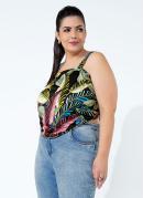 Blusa Folhagem Preta com Amarração Plus Size