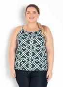 Blusa Geométrica Verde de Alças Plus Size