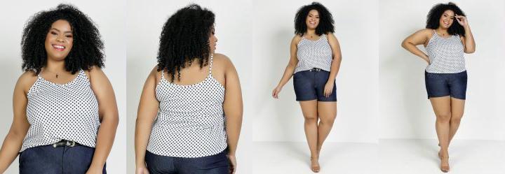 Blusa Poá Branca com Alcinhas Plus Size