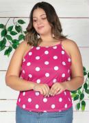 Blusa Poá Pink com Alças e Amarração Plus Size