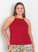 Blusa Vermelha Frente Única Plus Size
