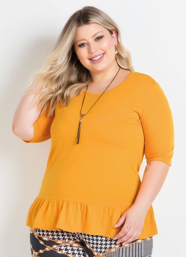 Blusa (Amarela) com Babado na Barra Plus Size
