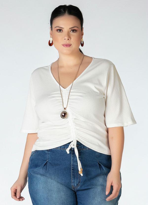 Blusa Plus Size (Branca) com Amarração
