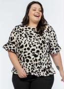 Blusa Plus Size Onça Off White com Babados