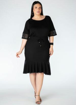 Blusa Plus Size (Preta) com Detalhe em Tela