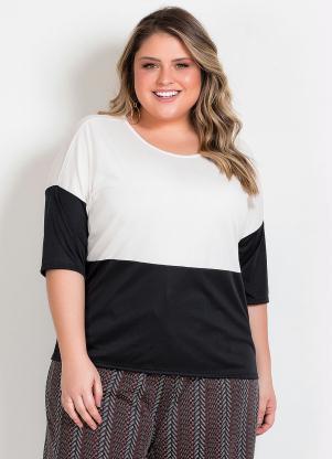 Blusa (Preta e Off White) Plus Size