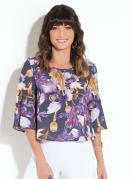 Blusa Quintess Floral com Mangas 7/8 Amplas