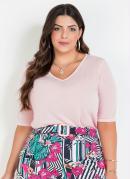 Blusa Rosa Mangas 3/4 Plus Size