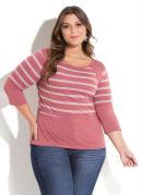 Blusa Listrada Rosa com Recortes Plus Size