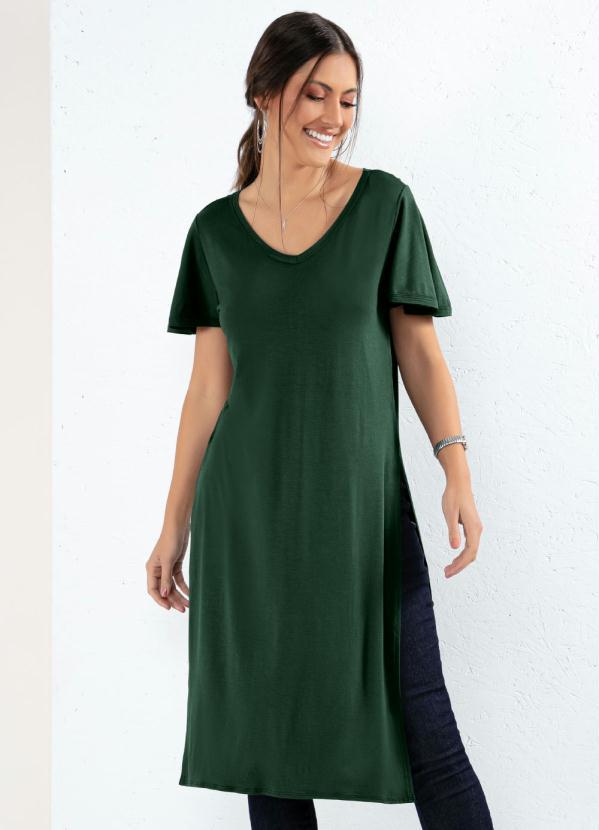 Blusa Alongada (Verde) com Fendas Laterais