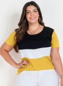 Blusa Amarela com Contrastes Plus Size