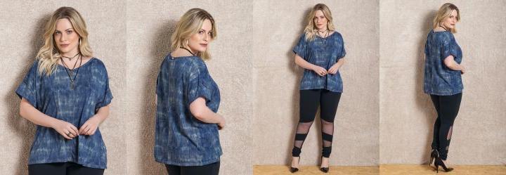 Blusa Azul Soltinha com Decote V