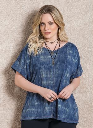 Blusa (Azul) Soltinha com Decote V
