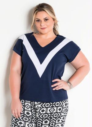6b074655d Blusa Bicolor Marinho e Branca Plus Size - Quintess
