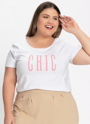 Blusa (Branca) com Estampa na Frente Plus Size