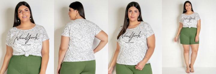 Blusa Branca com Ombro Deslocado Plus Size