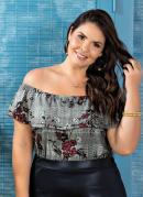 Blusa Ciganinha Jacquard Plus Size Floral Xadrez