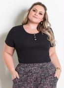Blusa com Botões Preta Marguerite Plus Size