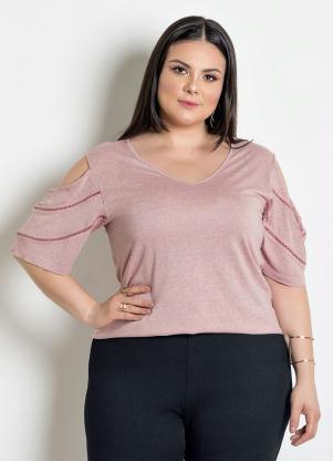 41d6cfdf03 Blusa com Detalhe Trançado Plus Size Rosa Mescla - SouLojista