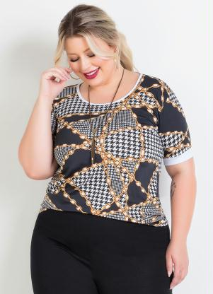 Blusa (Correntes) Manga Curta Plus Size