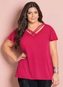 Blusa Decote V com Tiras Pink Plus Size